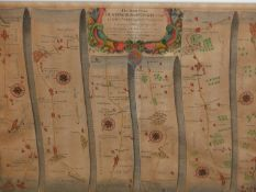 AFTER JOHN OGILBY. AN ANTIQUE HAND COLOURED MAP, THE ROAD FROM HUNTINGDON TO IPSWICH. 35 x 46.5cms.