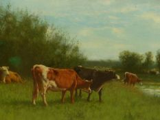 W. F. HULK. (LATE 19th.C.SCHOOL). CATTLE WATERING, SIGNED OIL ON CANVAS, LAID DOWN. 29 x 44cms.