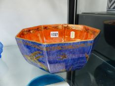 A WEDGWOOD LUSTRE OCTAGONAL BOWL, THE SOUFFLE BLUE EXTERIOR DECORATED WITH KINGFISHERS, THE RIM OF