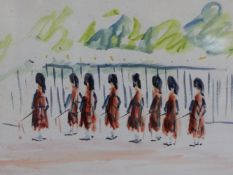 PAUL LUCIEN MAZE (1887-1979) ARR. HIGHLANDERS ON PARADE, INITIALLED, WATERCOLOUR. 29 x 41cms.