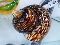 TEN GLASS PAPER WEIGHTS IN ANIMAL FORM, THE LARGEST. H 25cms.