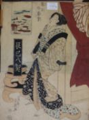 THREE JAPANESE WOODBLOCK PRINTS OF BEAUTIFUL WOMEN, ONE SIGNED EISEN AND THE OTHERS SIGNED KUNISADA,