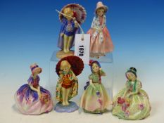 SIX ROYAL DOULTON FIGURES: TWO EACH OF BOBETTE AND MONICA, BABIE AND LILY, THE TALLEST. H 13cms.