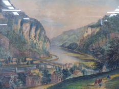 AN ANTIQUE CURRIER AND IVES FOLIO COLOUR PRINT ENTITLED 'VIEW OF HARPERS FERRY VIRGINIA' 44 x