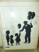 20th.C.ENGLISH SCHOOL. A SILHOUETTE OF A BALLOON VENDOR AND CHILDREN, INITIALLED I.B. PEN AND INK