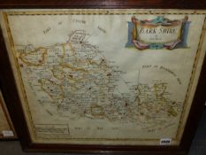AFTER ROBERT MORDEN. AN ANTIQUE HAND COLOURED MAP OF BERKSHIRE. 38 x 44cms TOGETHER WITH ANOTHER