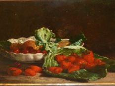 19th.C.CONTINENTAL SCHOOL. STILL LIFE WITH STRAWBERRIES, OIL ON CANVAS. 39 x 54cms.