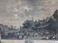 AFTER THOMAS STOTHARD. PILGRIMAGE TO CANTERBURY, ANTIQUE FOLIO PRINT. 36.5 x 99cms. TOGETHER WITH