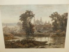 A HAND COLOURED FOLIO PRINT, ETON FROM THE THAMES. 72.5 x 88.5cms.