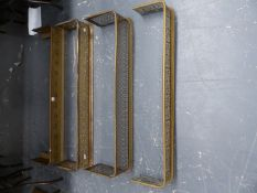 FOUR VARIOUS VICTORIAN PIERCED BRASS AND MESH FIRE FENDERS. (4)