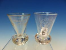 TWO MASONIC FIRING GLASSES, ONE FLARED BOWL ENGRAVED SHAKESPEARE No. 99 1757-1982 AND THE OTHER WITH