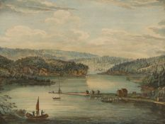 AFTER CAPTAIN HERVEY SMYTH. AN ANTIQUE COLOURED TOPOGRAPHICAL PRINT, A VIEW GASPE BAY IN THE GULF OF