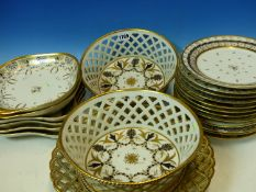 A COLLECTION OF PARIS PORCELAIN NEOCLASSICAL GILT AND BLACK DECORATED WARES TO INCLUDE A PAIR OF