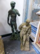 TWO CLASSICAL STYLE GARDEN FIGURES.