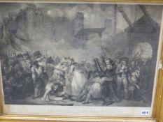 AFTER H.SINGLETON. AN ANTIQUE FOLIO PRINT ENTITLED THE DESTRUCTION OF THE BASTILLE JULY 14 1789.