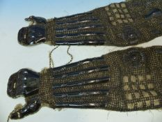 A PAIR OF JAPANESE GILT LACQUERED AND CHAIN MAIL SLEEVE ARMOUR OR KOTE IN THE ODA-GOTE STYLE