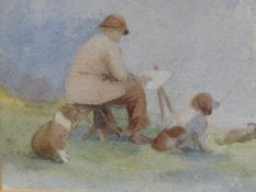 ENGLISH EARLY 20th.C. SCHOOL. AN ARTIST WITH HIS DOGS, WATERCOLOUR. 13 x 15cms, TOGETHER WITH A