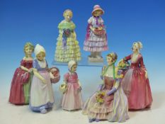 SEVEN ROYAL DOULTON FIGURES: ANNETTE TINKLE BELL, GRETA, THE LITTLE BRIDESMAID, JANET, DAINTY MAY