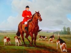B. LANDER, 20th.C.SCHOOL. A PAIR OF FOXHUNTING SCENES, SIGNED OILS ON PANEL. 31 x 40cms. (2).