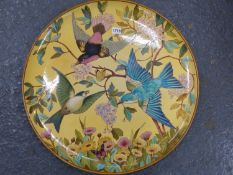 A MINTON LARGE DISH, DATE CODE FOR 1872, PAINTED WITH THREE EXOTIC BIRDS AMONGST FLOWERS AND