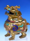 A CHINESE INLAID GILT BRONZE QILIN INCENSE BURNER, THE SINGLE HORNED HEAD FORMING THE COVER, THE