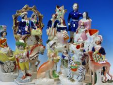 A COLLECTION OF TEN STAFFORDSHIRE POTTERY FIGURES TO INCLUDE GREYHOUNDS, A ZEBRA GROUP, PRINCE
