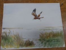 ROLAND GREEN (1890-1972). ARR. HUNTING THE MARSHES, SIGNED WATERCOLOUR, UNFRAMED. 28 x 38cms.