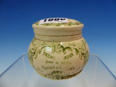 A ROGET GALLET GREEN PRINTED POTTERY JAR AND COVER ONCE CONTAINING CREME SAVON POUR LA BARBE. Dia.