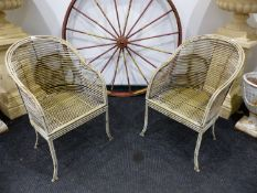 TWO VINTAGE PAINTED IRON FAUX BAMBOO GARDEN ARMCHAIRS.
