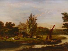 19th.C.ENGLISH SCHOOL. CATTLE BY A RIVER, SIGNED INDISTINCTLY, OIL ON CANVAS. 28 x 38cms.