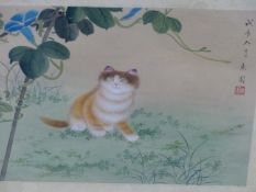A PAIR OF CHINESE WATERCOLOURS OF KITTENS SEATED BY FLOWERS, INSCRIBED AND WITH RED SEAL MARKS,