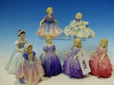 SEVEN ROYAL DOULTON FIGURES: MARIE, DINKY DO, DAISY, THE BRIDESMAID, ROSEBUD AND TWO OF ROSE, THE