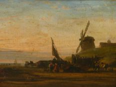 CIRCLE OF SHAYER. FISHER FOLK ON THE BEACH, OIL ON CANVAS. 25 x 29.5cms.