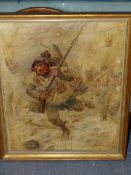 EUGENE CHAPERON (1857-1938). THE INFANTRY CHARGE, SIGNED AND DATED 1917, OIL ON PANEL. 41 x 32.