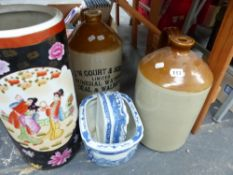 A STONE WARE FLAGON INSCRIBED J.W. COURT & SONS, ANOTHER FLAGON, AN ORIENTAL STYLE STICK STAND AND