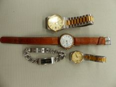 A 9ct GOLD VINTAGE WALTHAM WATCH, TOGETHER WITH TWO CITIZEN WATCHES AND A DKNY BRANDED WATCH.