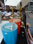 TWO BRASS TABLE LAMPS, TWO RETRO LIGHT SHADES.