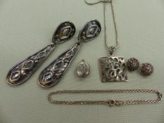 A SILVER OPEN WORK PENDANT, A PAIR OF SILVER AND MARCASITE CLIP ON EARRINGS, A SILVER LOCKET AND