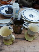 A PAIR OF DOULTON ENGLISH COTTAGES PATTERN VASES, VICTORIAN STAFFORDSHIRE PLATES, A TANKARD ETC.