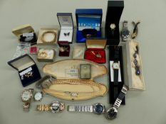 A GROUP OF IVORY MARKERS, TOGETHER WITH A QUANTITY OF WRISTWATCHES, SILVER AND COSTUME JEWELLERY.