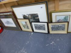 A QUANTITY OF VARIOUS PICTURES TO INCLUDE TWO WOVEN SILK TOWN SCENES.