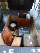 A BOX OF COLLECTIBLES TO INCLUDE A TIN DEED BOX, A HOOTER, OPERA GLASSES, A MANTLE CLOCK, DUMMY