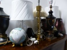 A QUANTITY OF VARIOUS TABLE LAMPS ETC.