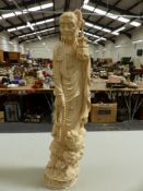 A LARGE 19TH C. FINELY CARVED JAPANESE IVORY FIGURE OR RAKAN SIGNED SKIKA TO TABLET IN BASE. H.