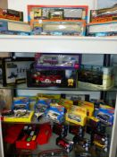 A COLLECTION OF CORGI AND OTHER DIE CAST BOXED VEHICLES (FOUR SHELVES)
