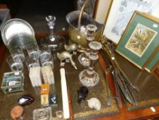 A SET OF WHISKY TUMBLERS, A DEANTER, PLATED CANDLE STICKS, SPORTING AND OTHER PRINTS, SEA SHELLS