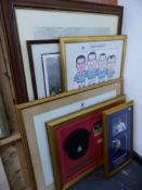 VARIOUS FRAMED SPORTING COLLECTABLE PRINTS AND DISPLAY.
