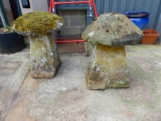 TWO STADDLE STONES.