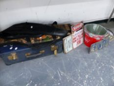 TWO GUN SLIPS, A SUITCASE, VINTAGE STYLE METAL SIGNS, ETC.