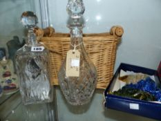TWO CUT GLASS DECANTERS AND A BASKET TOGETHER WITH LADIES EVENING GLOVES, ETC.